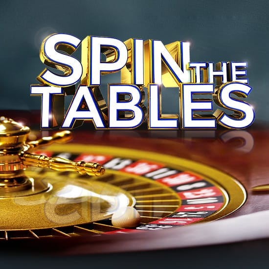 Spin The Tables gaming promotion square banner